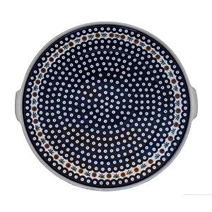 Polish Pottery Boleslawiec Platter, Round, Flat, 40cm in RED DOT pattern