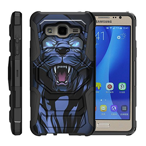 TurtleArmor | Compatible for Samsung Galaxy On5 Case | G550 | G5500 [Octo Guard] Dual Layer Silicone Hybrid Armor Hard Belt Clip Holster Impact Tough Kickstand Case Animal Design - Fierce Panther