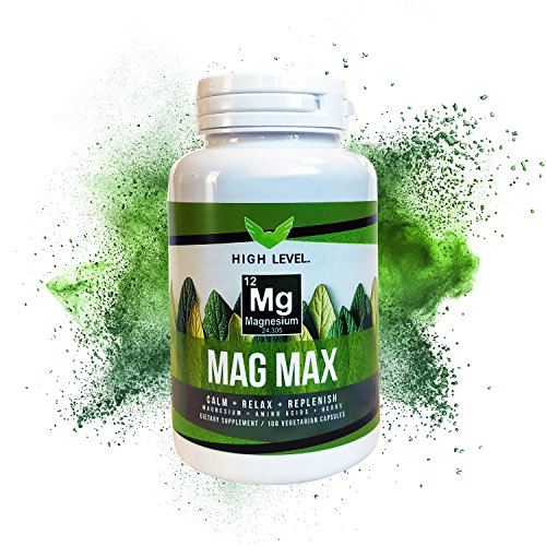 Max Amino Amino Acids - High Level Mag Max | 200 Mg Magnesium Chelate, Amino Acids, Proprietary Herbs | Vegan | Muscle and Nerve Support, Calm Mind, Healthy Energy | 100 Vegetarian Capsules