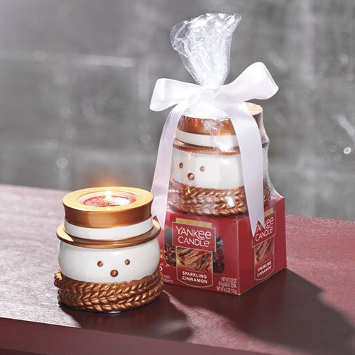 Yankee Candle Christmas Gift Set TEALIGHT SPARKLING CINNAMON WITH SANTA HOLDER