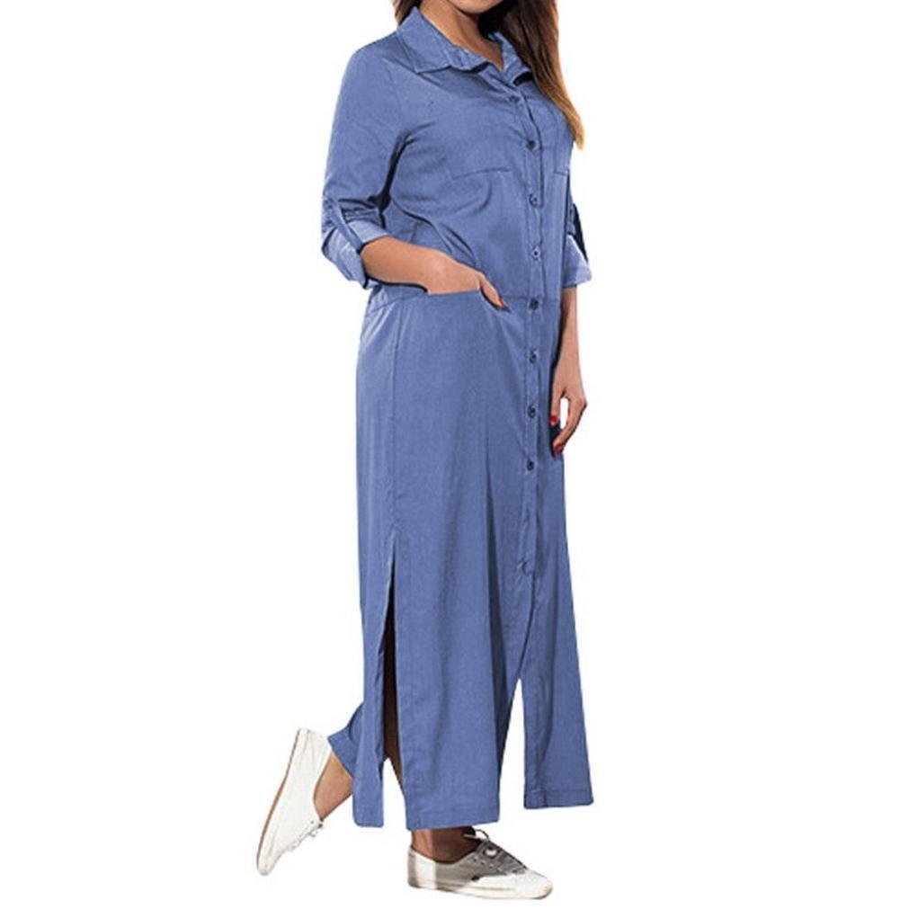 TOOPOOT Women's Denim Solid Dresses,2018 Ladies Button Beach Casual Maxi Dress