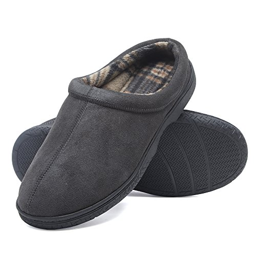 - Heat Edge Mens Memory Foam Suede Slip on Indoor Outdoor Clog Slipper Shoe (10, Grey)