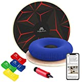 """AQUIVA Wooden Wobble Balance Board 15.5"""" + Air Cushion for Kids and Beginners + Resistance Loop Bands - Excellent for Advanced Athletes   Physical Therapy Equipment   Simply Stability Trainer"""