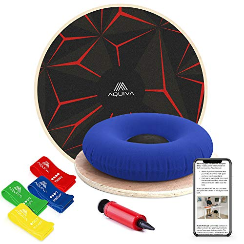 (Wooden Wobble Balance Board with Resistance Loop Band & Air Cushion for Kids & Beginners - Core Strength Physical Therapy Equipment for Advanced Athletes - Stability Training System (Red & Black))