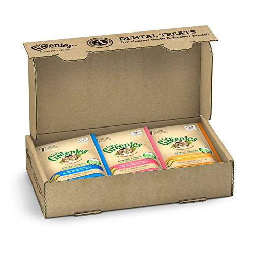FELINE GREENIES Natural Dental Care Cat Treats Variety Pack, (6) 2.5 oz. Pouches