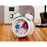 Classic Style Design Analog Bell Alarm Clock with Night Light Flower Butterfly Desk & Table Decoration - White