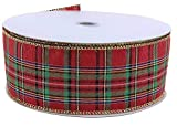 "Plaid Christmas Holiday Wired Ribbon - 2 1/2"" x"