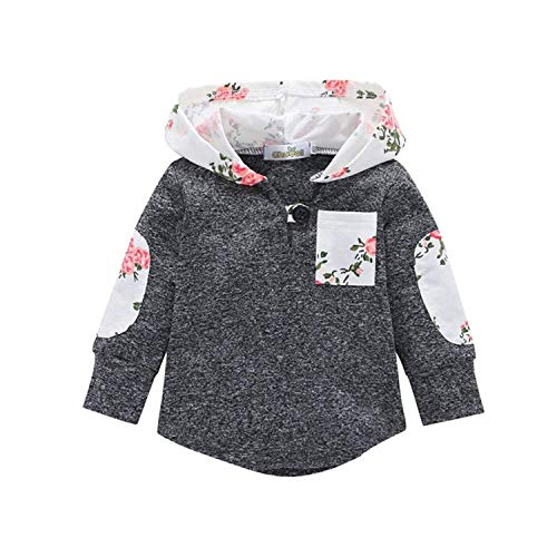 Girls Boys Long Sleeve Gray Plaid Hooded Sweatshirt with Pocket Pullover Jacket 3T ()