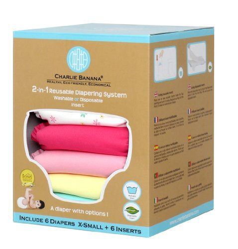 Charlie Bananaδづつ 2-in-1 Newborn Diapers - 6 Pack - Butterfly by Charlie Banana [並行輸入品]   B00MH81FUM