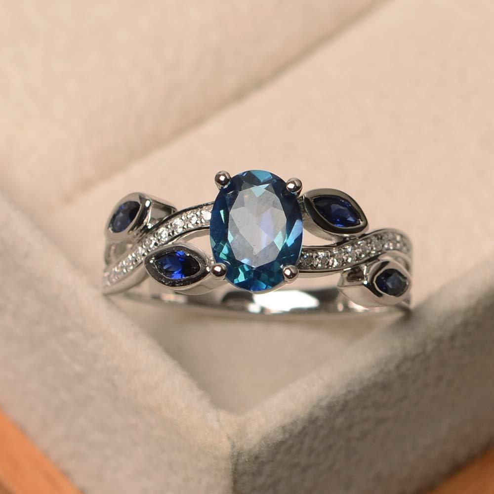 Neptune Garden Topaz Ring Sterling Silver Oval Cut Blue Gemstone Fine Jewelry Size 3-12