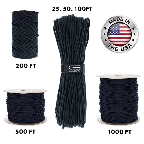 GOLBERG 550lb Parachute Cord Paracord - 100% Nylon USA Made Mil-Spec Type III Paracord - Used by the US Military - Multiple Colors & Lengths Available - Parachute Cord Wrap