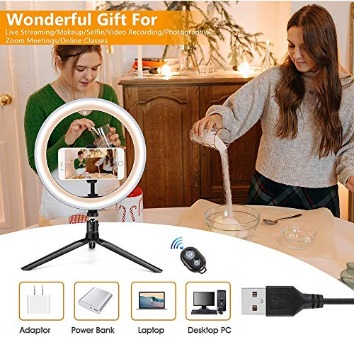 Led Ring Light 10With Tripod Stand And Flexible Phone Holder,360°Rotating Dimmable Desk Makeup Ring Light With 3 Light Modes, For Tiktok, Vlogs, Live Stream,Youtube,Self-Portrait Shooting,Usb Powered
