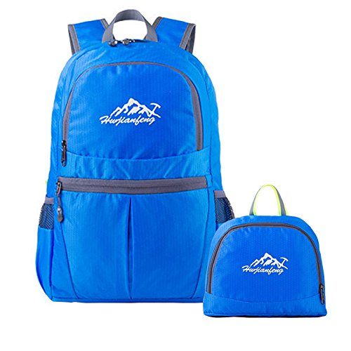 Lightweight Foldable Backpack 20L Water Resistant Packable Bag Casual Handy Waterproof Daypack for Outdoor Hiking Travel Camping (Blue)