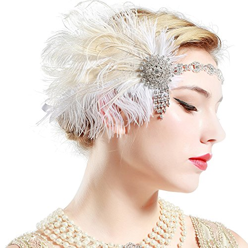 BABEYOND Womens Peacock Headband Womens Crystal Headband for Bride Feather Headband Flapper Headbands 1920s, White, One size