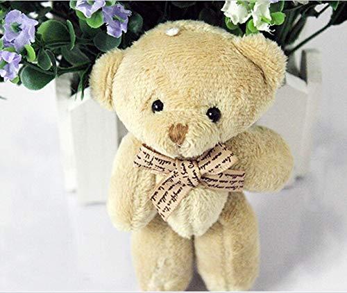 ForteGlo 11-12cm - 50pieces/lot 12cm Brown Ribbon Bow tie Bear Cartoon Bouquet Bear Doll Plush Joints Naked Teddy Bear Doll Mini Bear Doll 1 PCs from ForteGlo