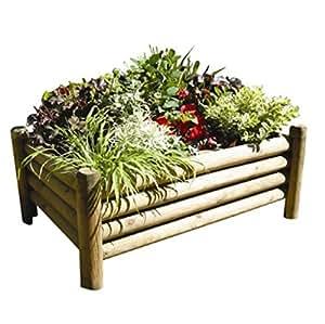 Unique–Maceta rectangular de madera hecha de semicircular troncos–Ideal para zonas de patio y jardines de todos los tamaños