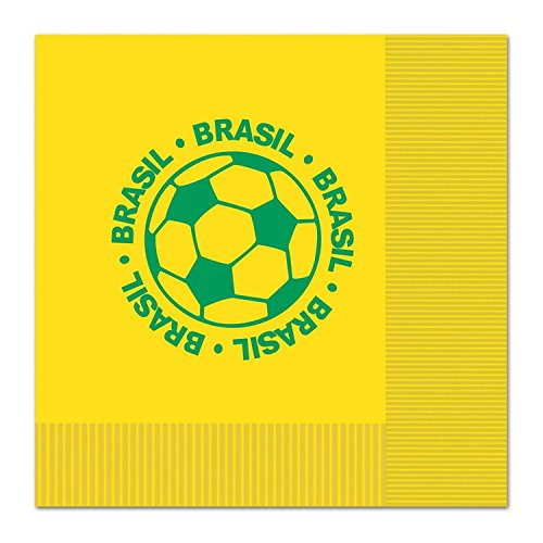 Club Pack of 192 Green and Yellow 2-Ply''Brasil'' Soccer Ball Paper Party Lunch Napkins 6.5'' by Party Central