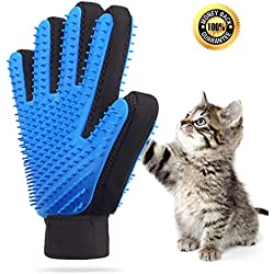Noyal Upgraded Pet Grooming Glove Cat Massage Mitt Gentle Deshedding Brush Gloves Efficient Pet Hair Remover Glove Perfect for Dogs & Cats with Long & Short Fur [ Double Side Use (1 Pair)]