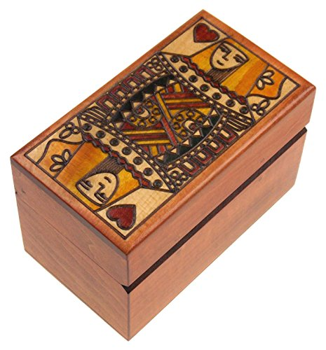 Hickoryville Queen of Hearts Wood Playing Card Storage Box Bundled with 2 Decks of Cards]()