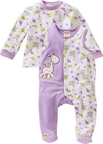 Schnizler Unisex Baby Strampler Set, Giraffe, 2 - tlg. mit Langarmshirt, Oeko - Tex Standard 100, Gr. 56, Violett (lila 19)
