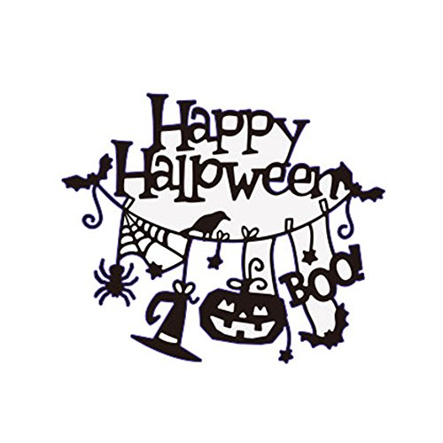 Fangfang Happy Halloween Cutting Dies DIY Metal Scrapbooking Stencil Card Making Embossing Paper for Halloween Decoration (Color 1 / 109x91mm)