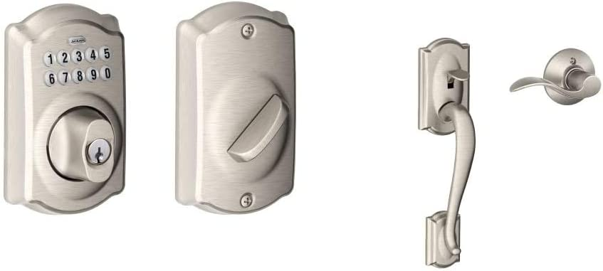 Schlage BE365CAM619 BE365 Camelot Keypad Deadbolt, Satin Nickel & Camelot Front Entry Handle Accent Right-Handed Interior Lever (Satin Nickel) FE285 CAM 619 Acc RH