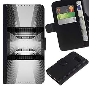 Paccase / Billetera de Cuero Caso del tirón Titular de la tarjeta Carcasa Funda para - Architecture Black White City - Samsung Galaxy S6 SM-G920
