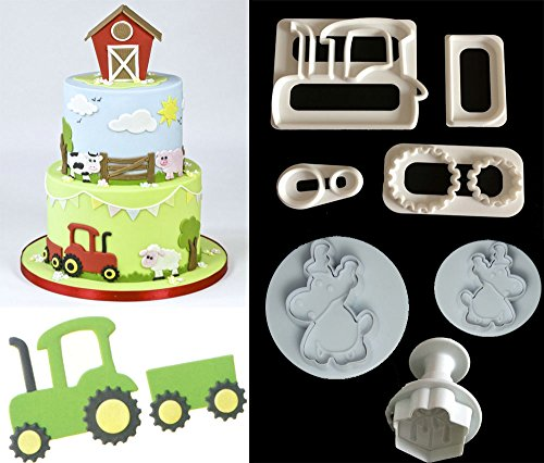 (Farm Animal Cookie Cutter Set,Tractor Cookie Cutter Cake Decorating Gumpaste Fondant Mould)