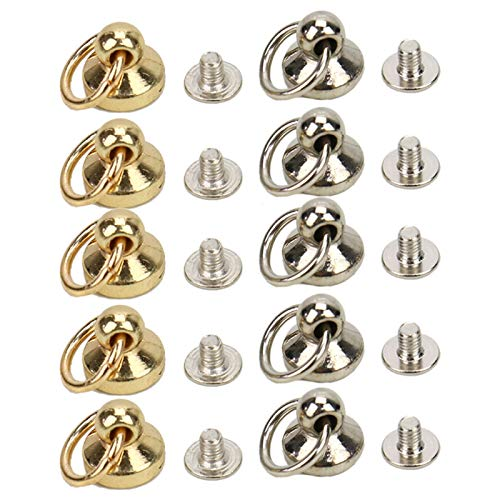 WSSROGY Set of 20 Button Studs Alloy Button Rivet Studs Screw Back Round Head Ring Leathercraft Accessary (Silver and Gold)