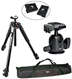Manfrotto MT055XPRO3/496RC2 Pro Tripod Head Kit and 2 Replacement Quick Release Plates for the RC2 Rapid Connect Adapter Plus a VidPro 35 inch Case