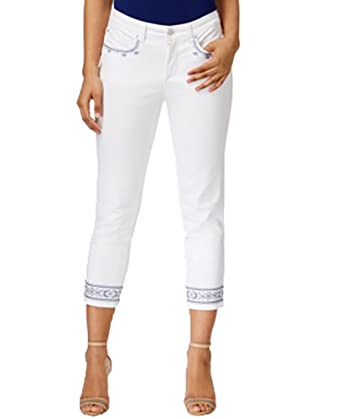 379738e33e9 Charter Club Bristol Embroidered Capri Jeans (White Wash Embroidery ...