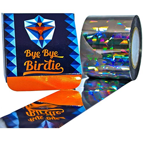 Bye-Bye Birdie Extra Large Super Sturdy Bird Repellent Scare Tape - Double Sided 200ft Holographic Flash Deterrent & Light Reflector - Best For Gardens, Docks and Boats - GUARANTEED TO KEEP BIRDS AWAY (Bird Repeller)