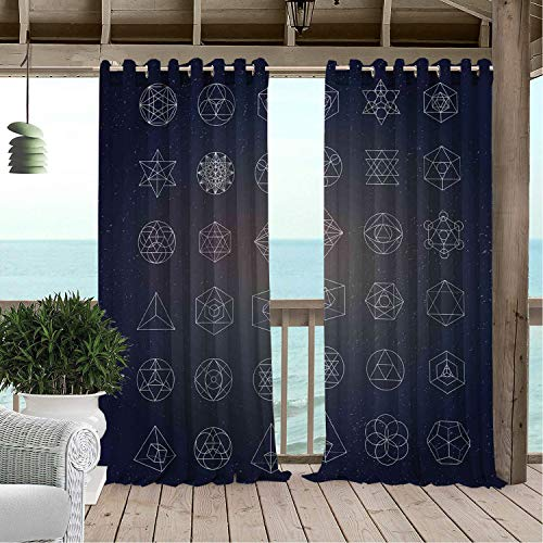 Gazebo Waterproof Curtains Sacred Geometry Alchemy Archaic Icons Ancient Esoteric Mystical Figures Print Dark Blue and White Porch Grommets Decor Curtain 120 by 84 inch