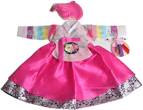 Korean hanbok girls babys 1ST BIRTHDAY 1 AGES dolbok hg062 pink saekdong by hanbok store