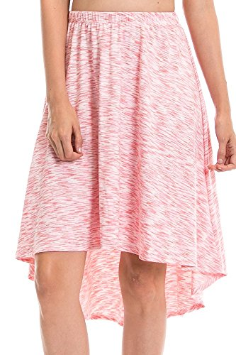 Discount Angel Cola Womens Marled Asymmetrical High Low Midi Skirts - Made In USA for sale