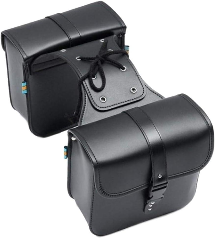 Chunyang Motorcyle R/ück R/ückseite Zur/ück Motorrad Seitentasche Schwarz PU-Leder-Satteltaschen-Werkzeuge Aufbewahrungsbox