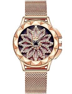 Reloj Mujer Dorado Moda Relojes Para Mujer Reloj Damas De Malla Impermeable Relojes De Pulsera De Cuarzo AnalóGico Para Mujer Oro Rosa Con Dial diamante