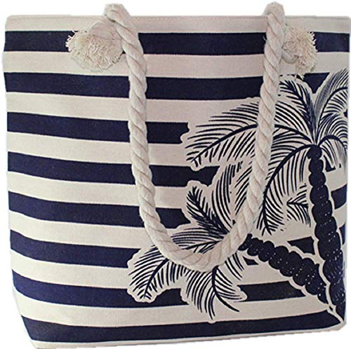 - Beach Tote Bag Navy Blue Stripes with Palm Tree Full Top Zipper Rope Handle Inside Pocket 22