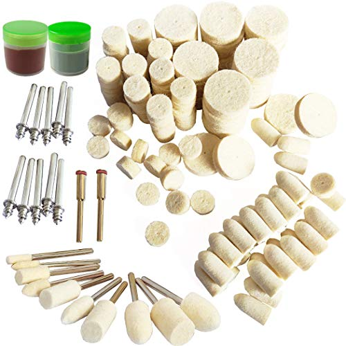 Woohome 150 PCS Polishing Bits Kit 5 Style Polishing Buffing Wheels Wool Felt Soft Felt Polishing Pad Set Wool Felt Mandrel Mounted Grinding Polishing for Rotary Tool