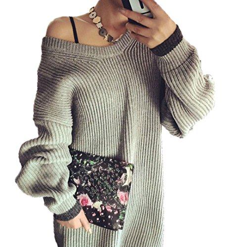 Cosanter Automne Hiver de Femme Robe Pull à Manches Longues en Vrac de Robe pull Féminine Pull V-cou Tricotage Jupe(Gris)