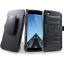 Alcatel OneTouch Idol 5 Case, Customerfirst Rugged Holster Dual Layer Case [Kickstand][Belt Swivel Clip] For Alcatel OneTouch Idol 5 (6060C) + keychain (R Black)