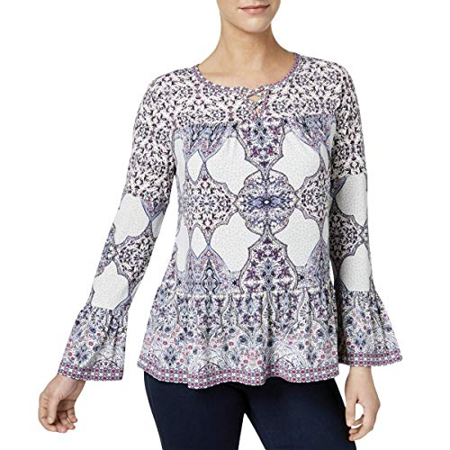 (Style & Co. Womens Petites Printed Lattice Pullover Top Ivory PM)
