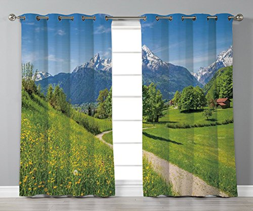 (Thermal Insulated Blackout Grommet Window Curtains,Landscape,Wildflowers in the Alps and Snow capped Mountains National Park Bavaria Germany,Yellow Green,2 Panel Set Window Drapes,for Living Room)