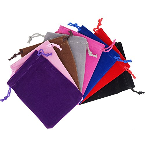 Pack of 8 Mix Color Soft Velvet Pouches w Drawstrings for Jewelry Gift Packaging, 9x12cm