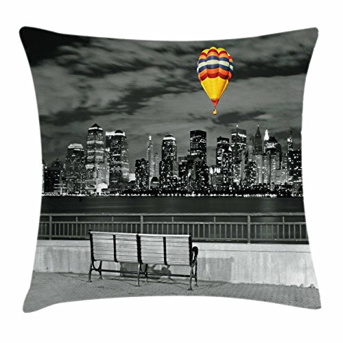 Nyc Throw Pillow (Black and White Decorations Throw Pillow Cushion Cover by Ambesonne, NYC Skyline from Liberty State Park Vibrant Air Balloon in Sky, Decorative Square Accent Pillow Case, 20 X 20 Inches, Multicolor)