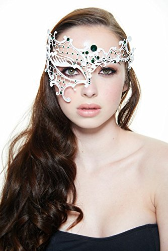 [Saturn White Masquerade Mask (Green Rhinestones; Unisex; One Size Fits Most)] (Womens Masquerade Costume Countess)