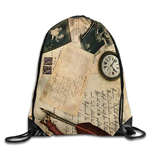 Vintage Photo And Postcard Drawstring Sport Backpack Gym Sack Pack For Travel School Camping Lightweight Bag 15 X 17 Inch