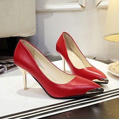 Talones de las mujeres del resorte de la PU Comfort exterior del talón de estilete Negro Blanco Rosa rojo que recorre White