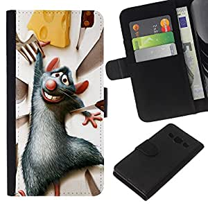 KingStore / Leather Etui en cuir / Samsung Galaxy A3 / Rata Roedor gris de la historieta del queso del personaje