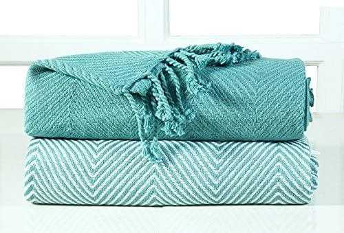 EHC – Juego de 2 Zigzag algodón Single Manta de sofá, Color Azul, 125 x 150 cm, Pack de 2